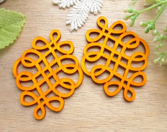 WP58 / # 2 Orange / Filigree Wood Knot Jewelry finding /Laser Cut Knot Charm / Pendant /  Colorful light weight earrings/large earrings