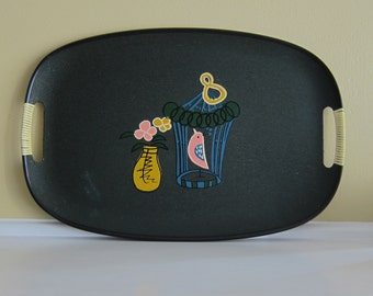 Tilso Vintage 1950's Serving Tray with Bird Cage