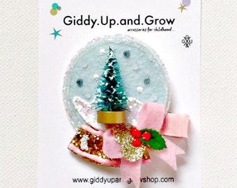 Christmas Hair Bow Felt Hair Clip Snow Globe, winter hair accessories, giddyupandgrow