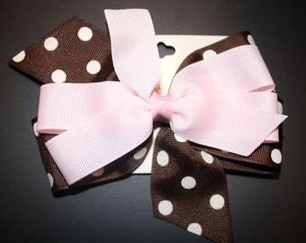 Pink and Brown Polka Dot Hair Bow