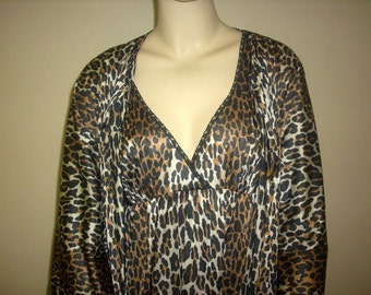 Vintage Peignoir Cheetah Print Nightgown and Robe Ladies S