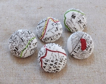 Fabric Covered Buttons (M) - French Style Retro Sketched Black Letters Nautical Sailing Map Colorful Lines Ocean Wave(5Pcs, 0.87 Inch)