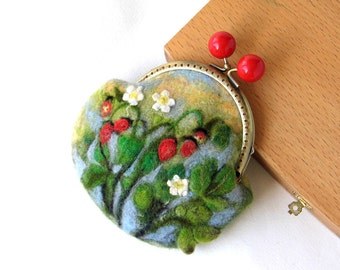 Wet Felted Strawberry Fields FLOWER coin purse Ready to Ship with bag frame metal closure gift for her