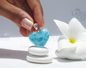 Larimarandsilver pendant, Caribbean Love - azure Larimar heart, navy blue, turtleback, AAA, turquoise blue heart, handmade Larimar pendant