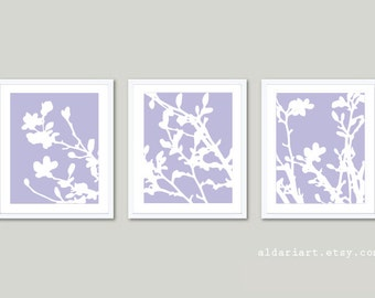 Magnolia Tree in Bloom Art Prints / Magnolia Tree Trio / Lilac Wall Art  / Spring Tree Home Decor / Magnolia Triptych / Modern Tree Art