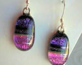 Fuschia Purple Dichroic Glass Earrings Dangle Drop Earrings Fused Glass Purple Earrings Fuschia Earrings Glass Earrings Sparkle Jewelry