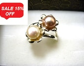Stacking Silver Rings with Color Pearl in Flower - R1220 - ElenadE