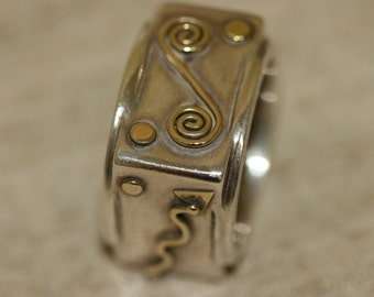Silver and Gold Ring, Four Sides Ring,Silver Ring, Sterling Silver Ring, Designed Jewelry, Handcrafted Jewelry