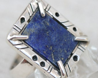 Silver Ring, Lapis Silver Ring, Handmade Sterling Silver Ring, Rectangle frame Ring,Silver Jewelry with Lapis