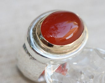 Carnelian Solid Silver Ring,Big Silver Ring,Carnelian Silver Ring,Silver & Gold Ring,Carnelian Jewelry, Birthstone Ring ,Ring Size 5 - 5 1\4