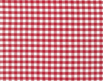 Red and White 1/4 Inch Plaid Checked Gingham, Robert Kaufman Carolina Gingham, 1 Yard