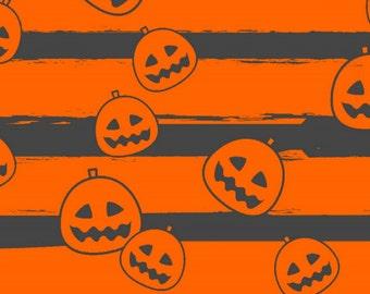 Orange and Charcoal Grey Pumpkin Stripe 4 Way Stretch Cotton Lycra Jersey Knit, 1 Yard