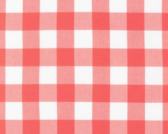 Coral and White Plaid Checked Gingham, Robert Kaufman Carolina Gingham, 1 Yard