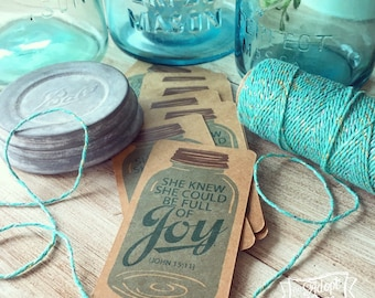 she knew she could be full of joy (John 15:11) kraft mason jar #TheAdoptShoppecard
