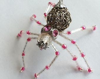 Hand beaded Spider Pin Brooch