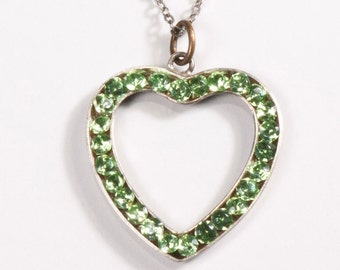 Sterling Silver Heart Pendant Mint Green Rhinestones on Chain Necklace Vintage