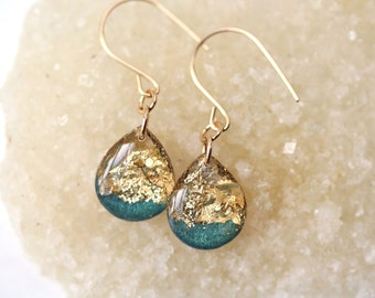 teal and gold leaf and glitter tear drop earrings on 14 karat gold fill ear wires