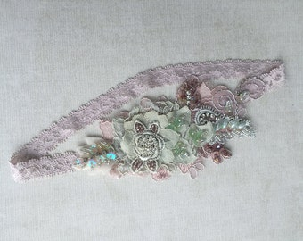 Sage/dusty pink lace beaded headband