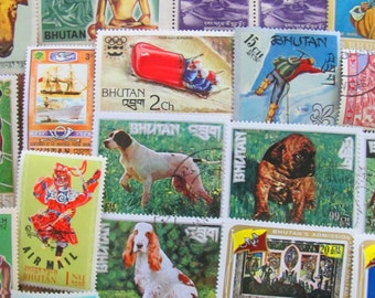Thunder Dragon Kingdom 50 Vintage Postage Stamps Kingdom of Bhutan Dzongkha Thimphu Druk Tsendhen Buddhism Himalayas Asia Asian Philately