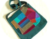 OOAK Messenger Bag, Handmade by Barefoot Modiste, One of a Kind Crossbody Bag, Unique Bohemian Chic, Colorful Patchwork Corduroy Bag, Large
