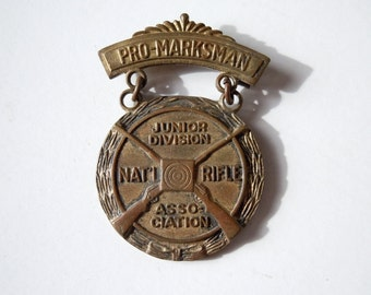 Vintage NRA Pro Marksman Junior Division Award Pin / Metal Medal / Small award honor pin / USA / NRA Badge Pin / Collectible Pin
