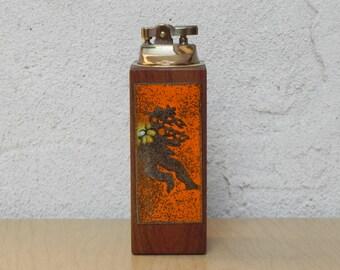 Tall Rectangle Walnut Enameled Copper Table Lighter
