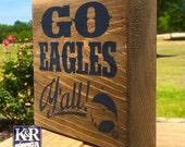 Georgia Southern GS Eagles True Blue Home block reclaimed wood decor barnwood art painted shelf decorative decoration