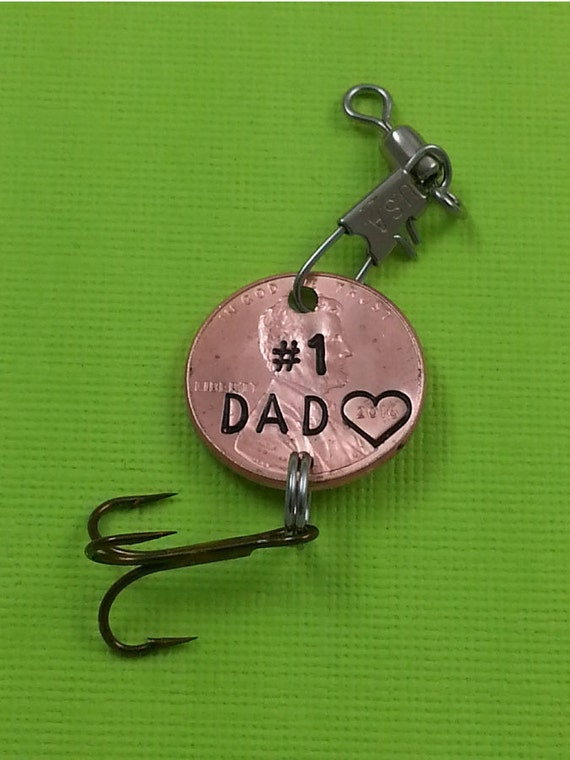 Dad engraved penny fishing lure gift for him daughter gift for Engraved fishing lures