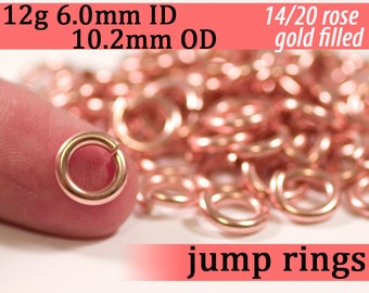 12g 6.0mm ID 10.1mm OD rose gold filled jump rings -- 12g6.00 rose goldfill jumprings 14k goldfilled
