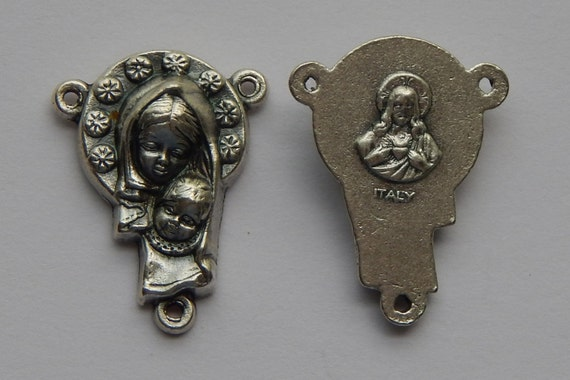 5 Rosary Center Piece Findings - 21mm Long, Mary and Child, Flower, Sacred Heart, Silver Color Oxidized Metal, Rosary Center, RC412