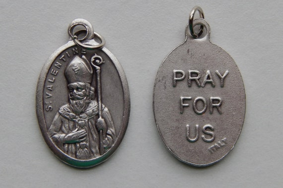 5 Patron Saint Medal Findings - St. Valentine, Die Cast Silverplate, Silver Color, Oxidized Metal, Made in Italy, Charm, Drop, RM707