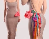 Fringe Cascade Dress Cotton Jersey Sexy Bodycon Dress Over the Knee Length Braided Strappy Dress Open Back Fitted Dress Floral Midi Dress