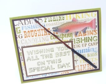 Happy Father's Day Card, Father's Day Fishing Card for Dad, Handmade Father's Day Card, Outdoorsman Father's Day Card, Father's Day Gift