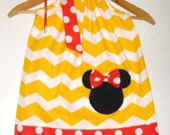Minnie Yellow  white chevron red dots pillowcase dress appliqued Disney clothing 3,6,9,12,18, months 2t, 3t, 4t,,5t,6,7,8,9,10,12,,14