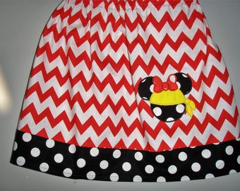 Skirt Minnie Mouse pirate skirt Chevron skirt  with applique  (available in sizes  2t,3t,4t,5t,6,7,8