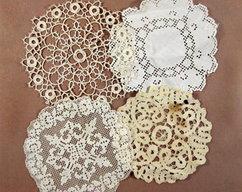 Small Antique Lace Doilies, Handmade