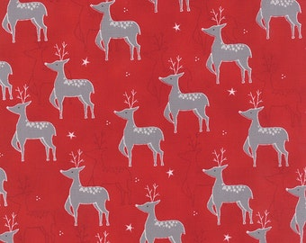 JOL Reindeer on Red 39700-16 Moda Quilt Fabric by the 1/2 yard