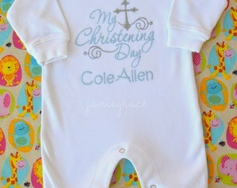 Baby Boy Christening Outfit Baby Boy Baptism Outfit Baby Boy Baptism Romper Baby Boy Dedication Outfit  Baby Boy Baptism Gown