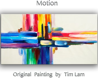 "Mixed media art painting, Original Abstract art, Oil painting, Modern art, home art, colorful stripes canvas painting by Tim Lam 48"" x 24"""
