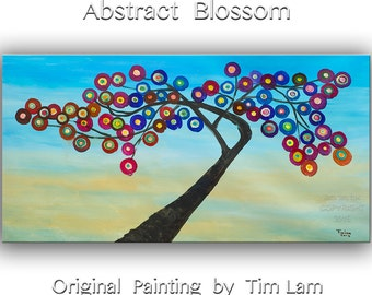Art, fine art, Fancy art, painting art, Blossom tree art, oil painting, Original art, huge art, Modern art, art deco, wall art, tim lam, 48""