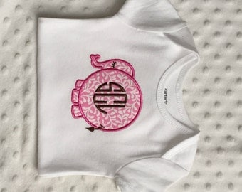 Baby Girl Personalized Bodysuit with Appliqued Elephant