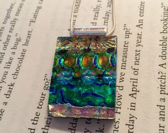 Dichroic glass, Dichroic glass necklace, Dichroic Glass Pendant, Fused Glass Jewelry, handmade Dichroic glass Necklace, dichroic necklace