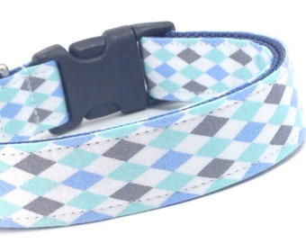 Custom Dog Collar - The Blue Harlequin - Teal White Blue Gray Diamond Dog Collar - The joker - Harlequin Dog Collar