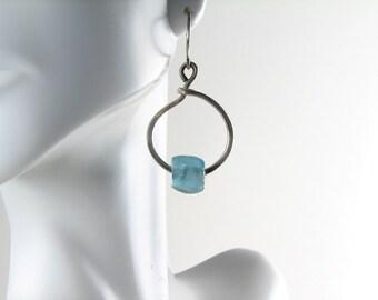 Ocean blue recycled glass beads fine silver hoops earrings