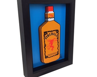 Fireball Whiskey 3D Pop Art Liquor Bottle Whisky