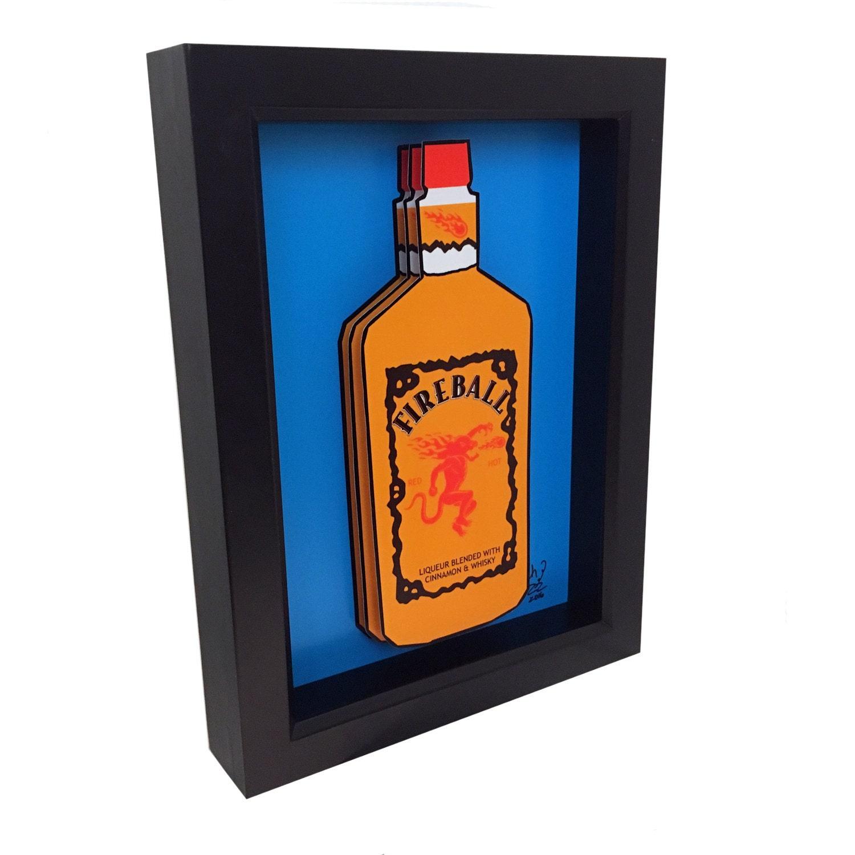 Fireball whiskey 3d pop art liquor bottle whisky for Liquor bottle art
