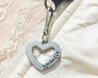 Name tag, heart custom name zipper pull/ id bag tag, hand stamped