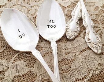 "I do, me too: vintage i do/ me too spoons, hand stamped ""baroque rose"""