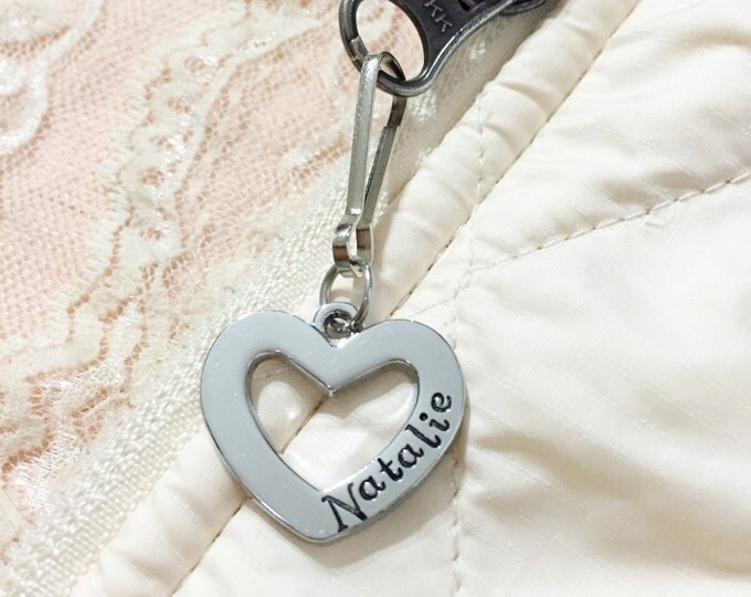 Name tag, heart custom name zipper pull/ id bag tag, hand stamped