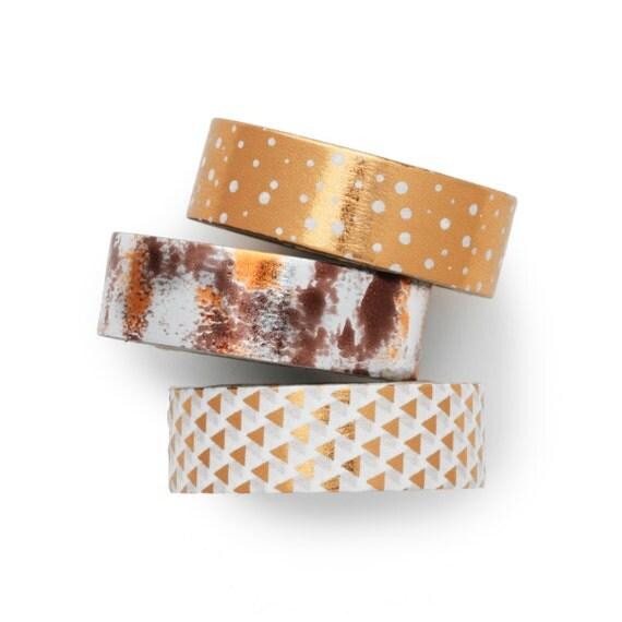 3 conjunto  hoja de cobre papel washi por LoveMyTapes en Etsy
